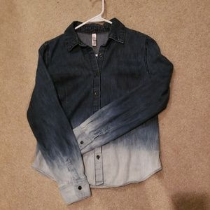 Ombre Long Sleeve Denim Design Shirt - XS